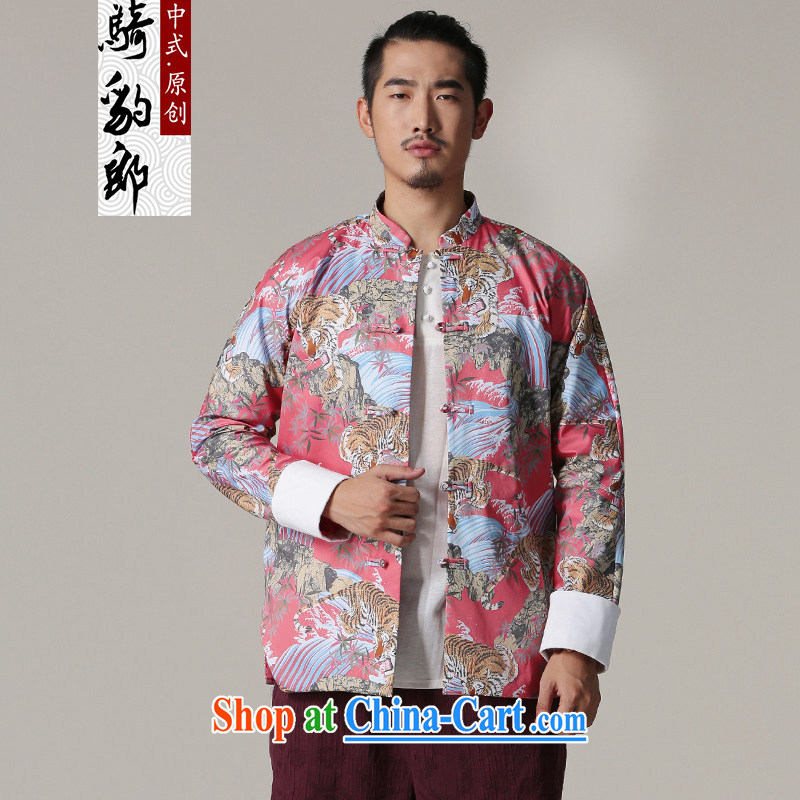 Riding a leopard jacket, men's national costume Chinese autumn and winter, New China, for stamp duty cotton high-end Chinese male red XXL