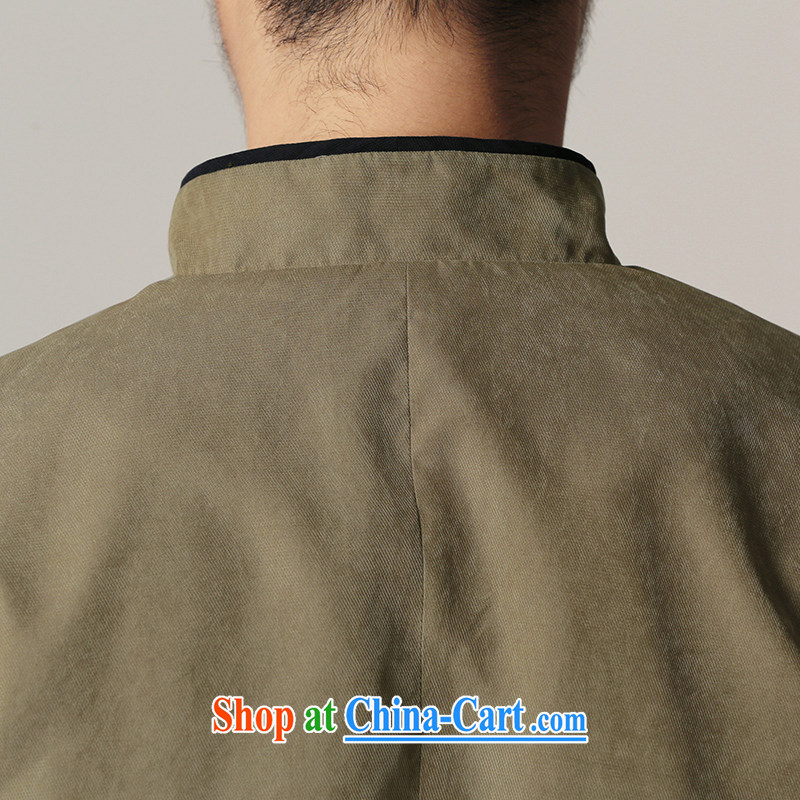 Riding a leopard, Tang jackets men's autumn New China wind men's beauty is withheld, for Chinese Zen ethnic wind smock elegant green XXXL, riding a Leopard (QIBAOLANG), shopping on the Internet