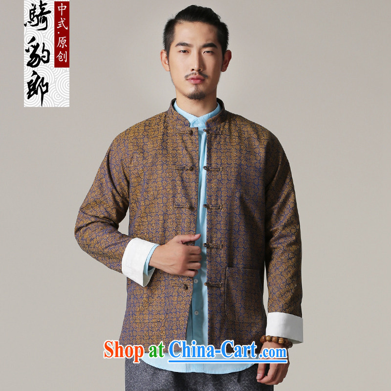 Riding a leopard, Tang jackets men's autumn and winter New China wind cotton, for male Chinese Antique ethnic wind clothing yellow L