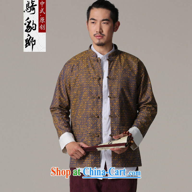 Riding a leopard jacket, Chinese men and winter new ethnic Chinese style clothing cynosure serving Chinese-tie retro men's T-shirt yellow XXL