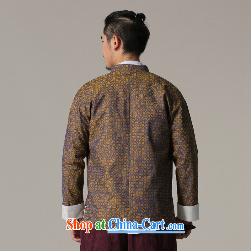 Riding a leopard jacket, Chinese men's autumn and winter, the ethnic Chinese style clothing cynosure serving Chinese-tie retro men's T-shirt yellow XXL, riding a leopard health (QIBAOLANG), and, on-line shopping