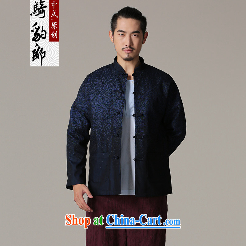 Riding a leopard, Tang jackets 2015 autumn and winter season New China wind men, for Chinese leisure men's father blue XXL