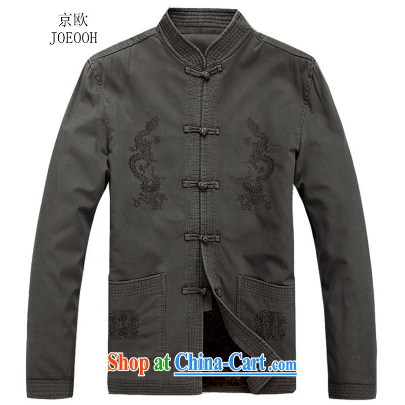 Putin's European autumn New Men Tang jackets long-sleeved T-shirt, for China Wind Light Gray XXL_185