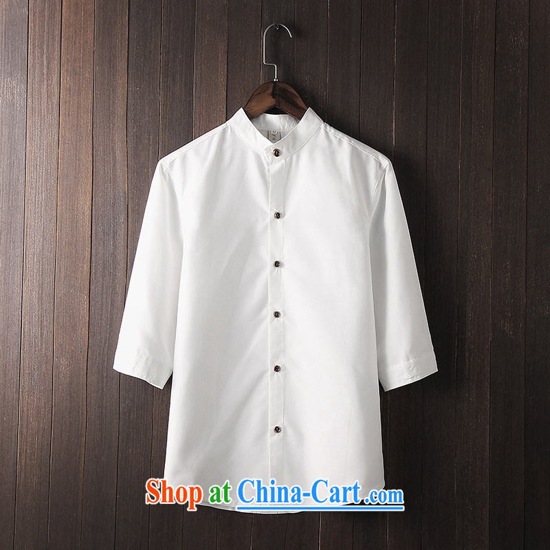 UYUK 2015 summer and autumn men's Chinese shirt China wind 7 sub-sleeved shirts , cuffs and collar shirt white M