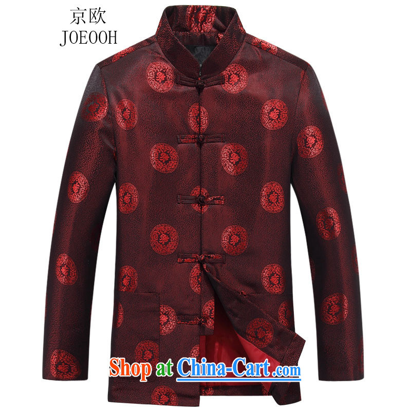 Putin's European older women and men in Chinese long-sleeved autumn Mom and Dad couples the marriage between men and women birthday taxi Chinese T-shirt jacket men red women 160