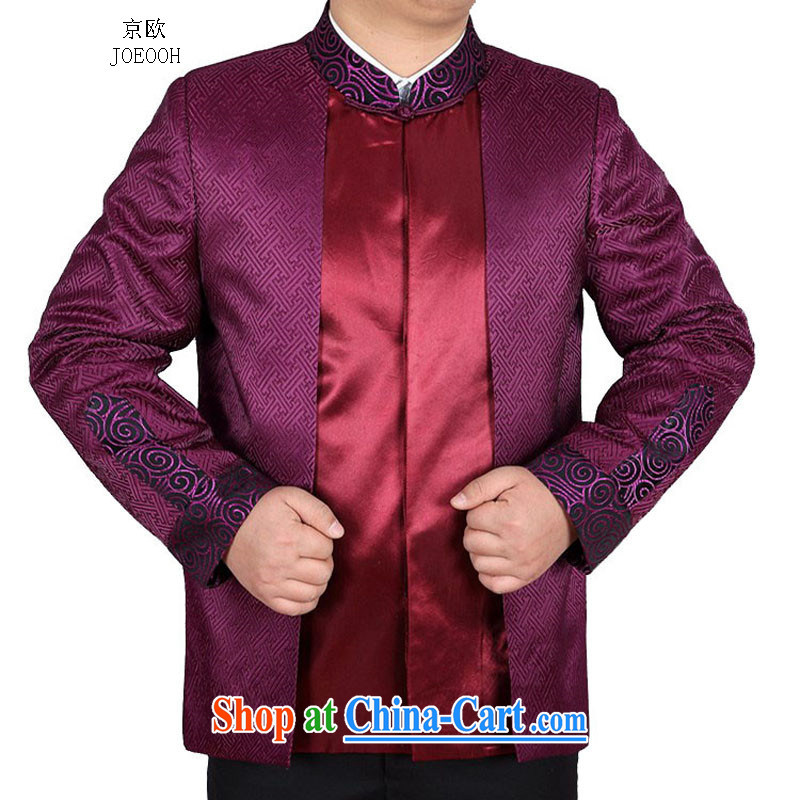 Putin's Europe in autumn elderly men and a leading Chinese Birthday long-sleeved jacket Chinese T-shirt purple XXXL_190