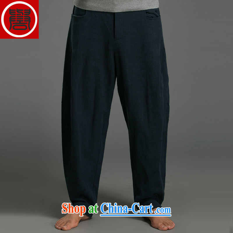 Internationally renowned Chinese wind smock Chinese Chinese male older persons in linen loose more men Han-men's Nepal clothing pants T-shirt Pants _dark blue_ XXXL