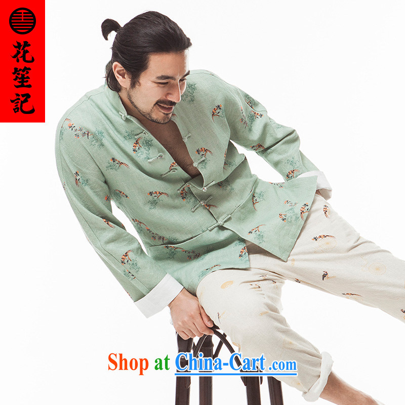 His Excellency took note national antique China wind Tsui image Sau San Tong replacing men and taxi stand collar long-sleeved ramie Casual Shirt autumn light green giant _XL_