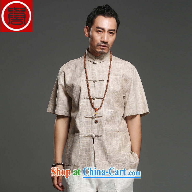 Internationally renowned Chinese clothing Chinese wind leisure men's short-sleeved Tang in older men's half sleeve male summer linen shirt dress 2015 m yellow 3 XL