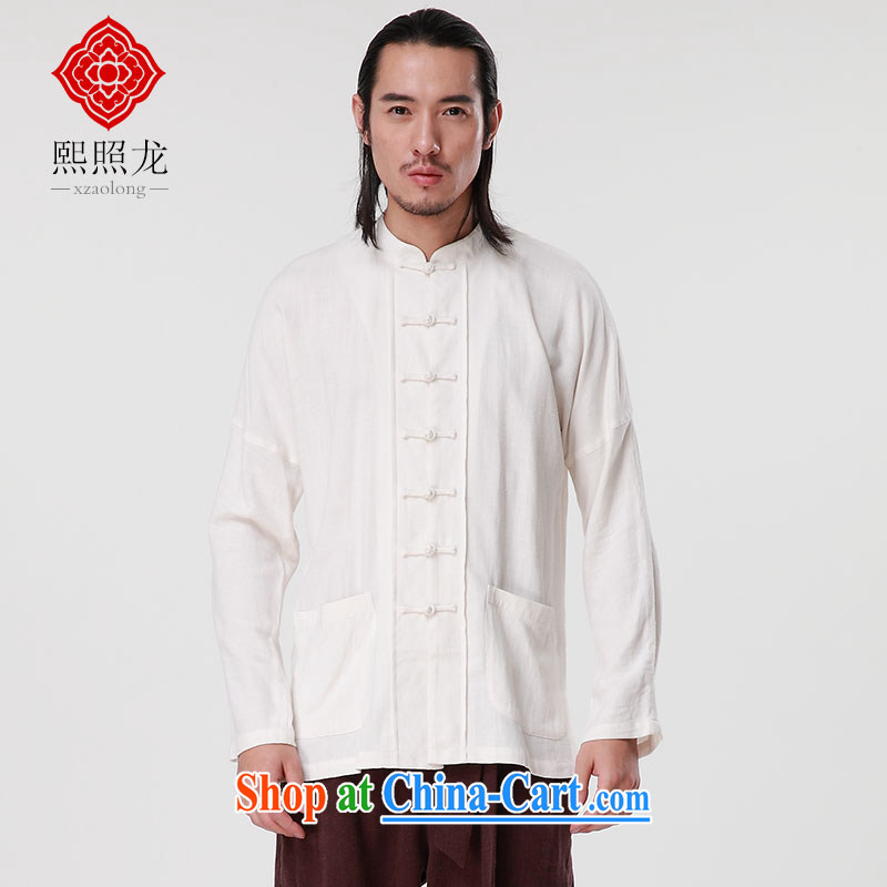 Mr Chau Tak-hay, snapshot 2015 winter new long-sleeved linen adhesive men's shirts Chinese, manually for the buckle Tang on T-shirt m White M, Hee-snapshot lung (XZAOLONG), online shopping