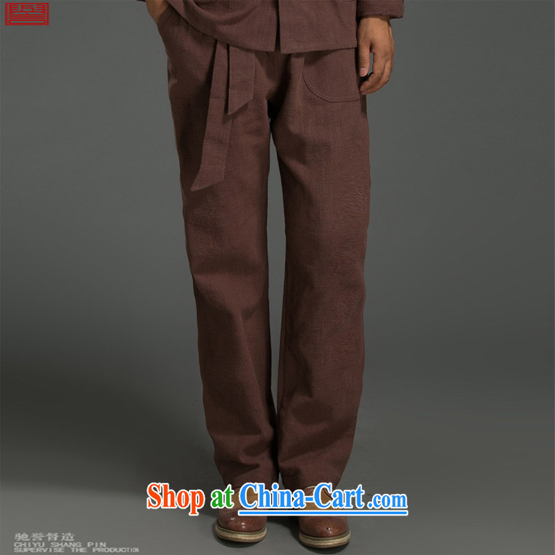 Internationally renowned Chinese clothing Chinese wind pants sporting the detained Chinese loose tight waist Chinese cotton linen men's pants straight and long pants 8077 maroon 2XL