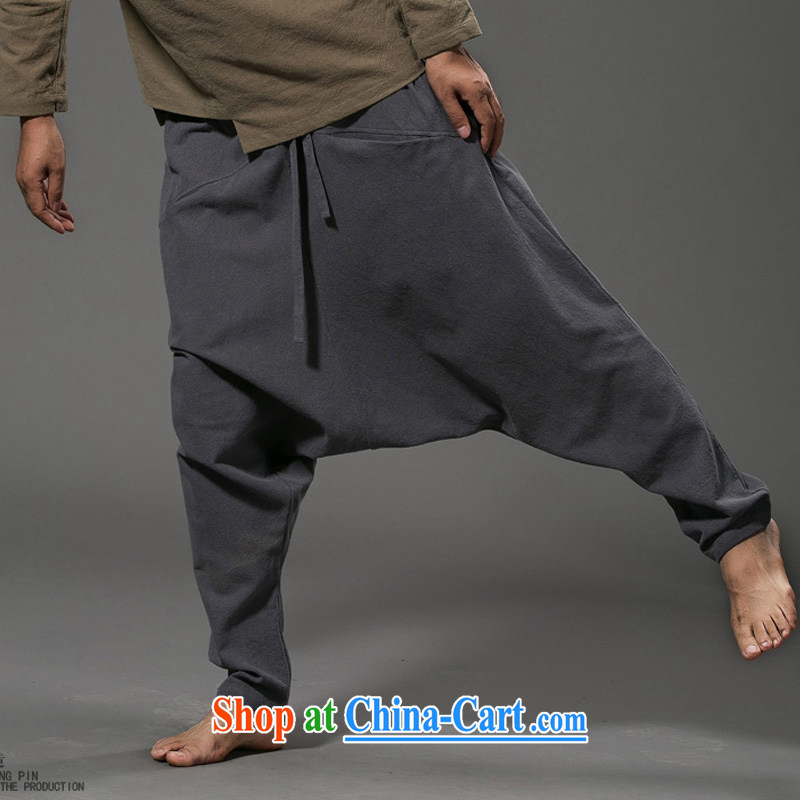 Internationally renowned Chinese clothing Chinese wind down pants men's cotton the loose pants low pants men's linen pants elasticated trousers male and 2015 gray code