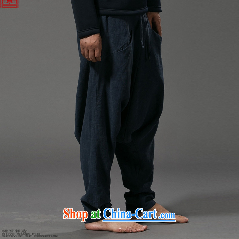 Internationally renowned Chinese clothing Chinese wind down pants men's cotton the loose pants low pants men's linen pants elasticated trousers male and 2015 gray code, internationally renowned (chiyu), online shopping