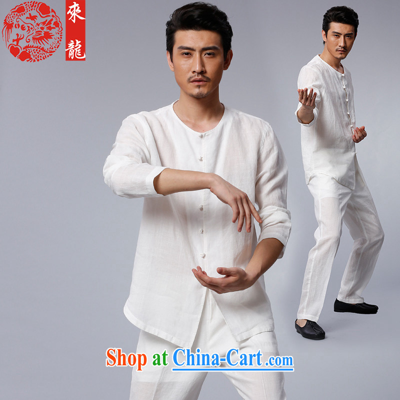 To Kowloon Chinese autumn 2015 New China wind Man Kung Fu ramie package 15,556 white white 44
