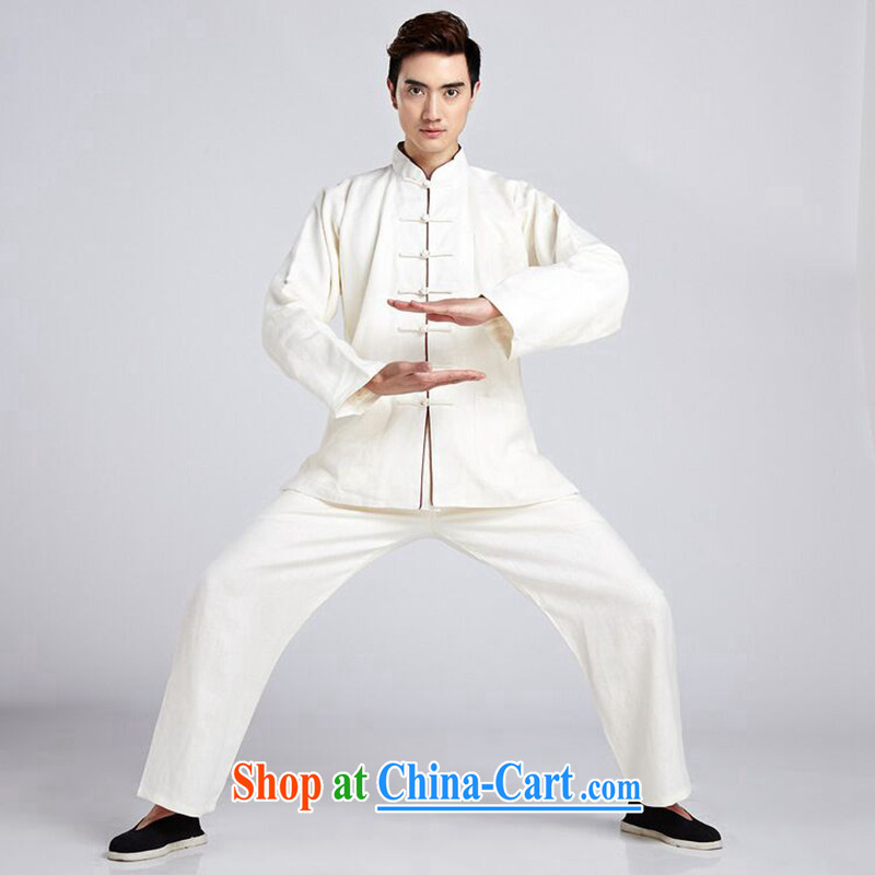 Dan smoke men Tang package installed, smock collar linen shirt ethnic wind Han-smock Tai Chi uniforms Kung Fu T-shirt - 3 XL