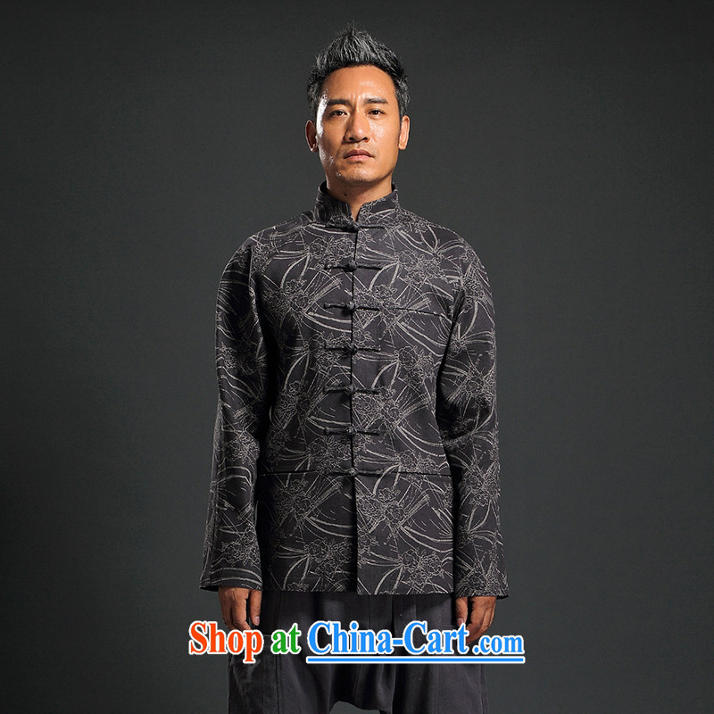 Internationally renowned Chinese wind embroidery fall_winter Chinese men and Han-men's knitted denim shirt jacket and smock for national dress jacket male Q XXXL 1652
