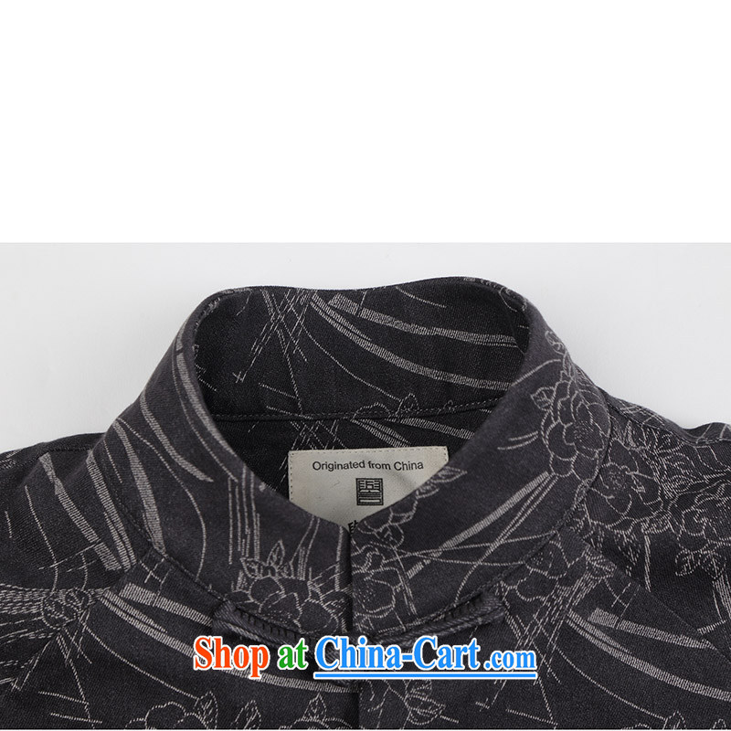Internationally renowned Chinese wind embroidery autumn and winter Chinese men and Han-men's knitted denim shirt jacket and smock for national dress jacket male Q XXXL 1652, internationally renowned (CHIYU), online shopping