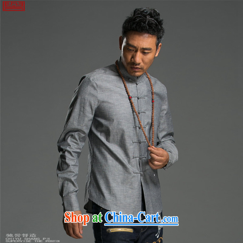 Internationally renowned Chinese clothing Chinese wind long-sleeved T-shirt autumn and winter the cotton shirt men's linen shirt, collar-tie Solid Color Chinese male and dark gray XL