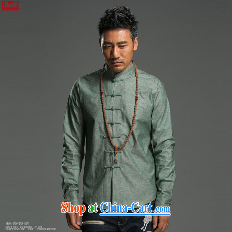 Internationally renowned Chinese clothing Chinese wind long-sleeved T-shirt men's autumn and winter cotton shirt the men's linen shirt, collar-tie Solid Color Chinese male and dark gray XL, internationally renowned (chiyu), and, on-line shopping