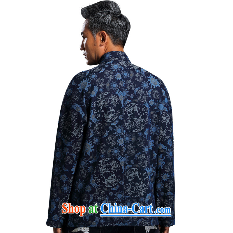 Internationally renowned Chinese wind embroidery autumn and winter Chinese men and Han-men's knitted denim shirt jacket and smock for national dress jacket and blue L, internationally renowned (CHIYU), online shopping
