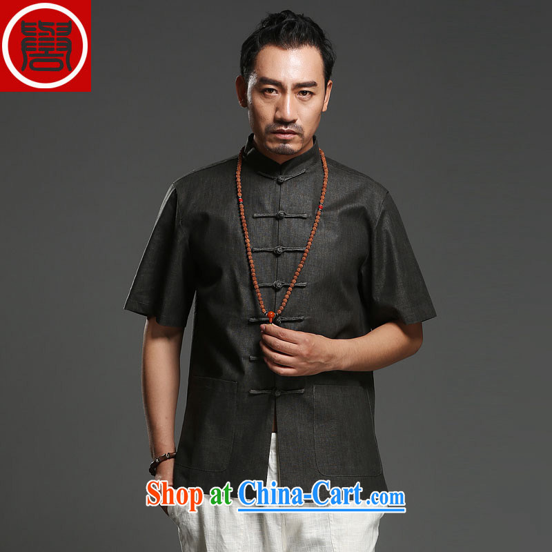 Internationally renowned Chinese clothing Chinese wind male Chinese short-sleeved shirt linen summer Chinese solid-colored Ethnic Wind and the older half sleeve 2015 dark gray 2 XL