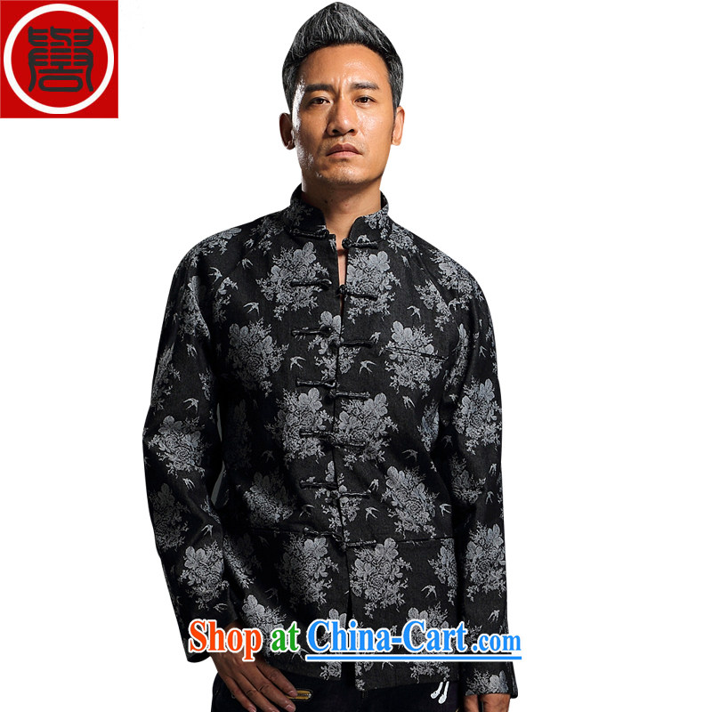 Internationally renowned Chinese wind embroidery autumn and winter Chinese men and Han-men's knitted denim shirt jacket and smock for national dress jacket and black XXL