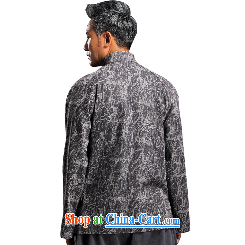 Internationally renowned Chinese wind embroidery autumn and winter Chinese men and Han-men's knitted denim shirt jacket and smock for national dress jacket men's gray XL, internationally renowned (CHIYU), online shopping