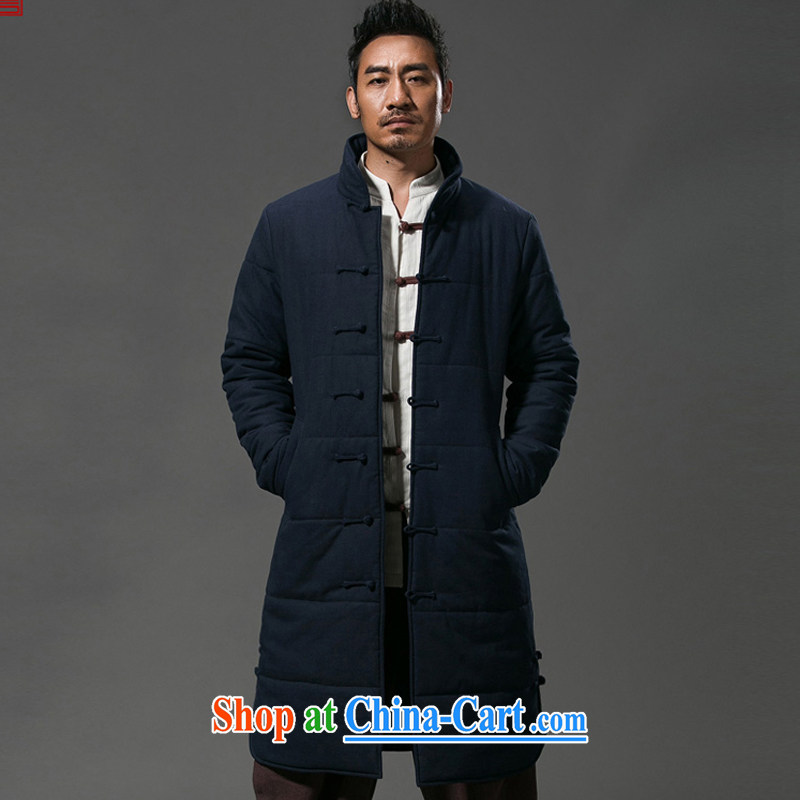 Internationally renowned Chinese clothing winter clothing men's casual jackets click the buckle China wind long men and thick quilted coat windbreaker cotton suit jacket 652 dark blue 4 XL