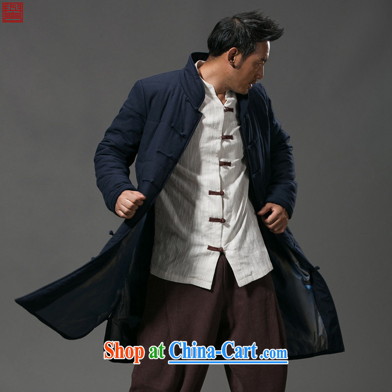 Internationally renowned Chinese clothing winter clothing men's casual jackets click the buckle China wind long men and thick quilted coat windbreaker cotton suit jacket 652 dark blue 4 XL, internationally renowned (chiyu), online shopping