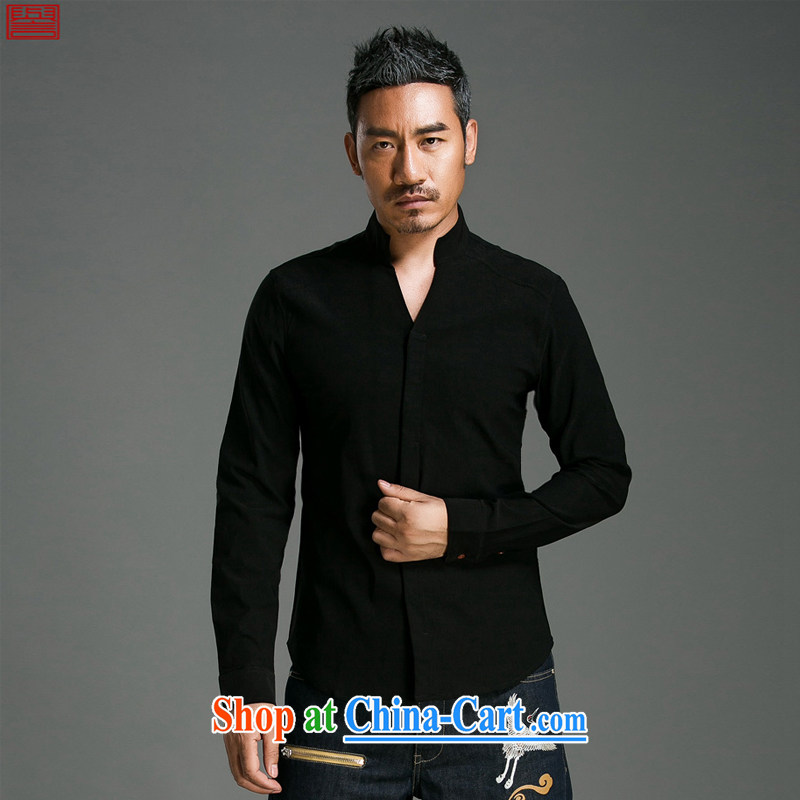 Internationally renowned Chinese clothing Chinese wind men's shirts long-sleeved cultivating V collar solid color men's Spring and Autumn cotton the Chinese shirt T-shirt men's 056 crisp black 3XL