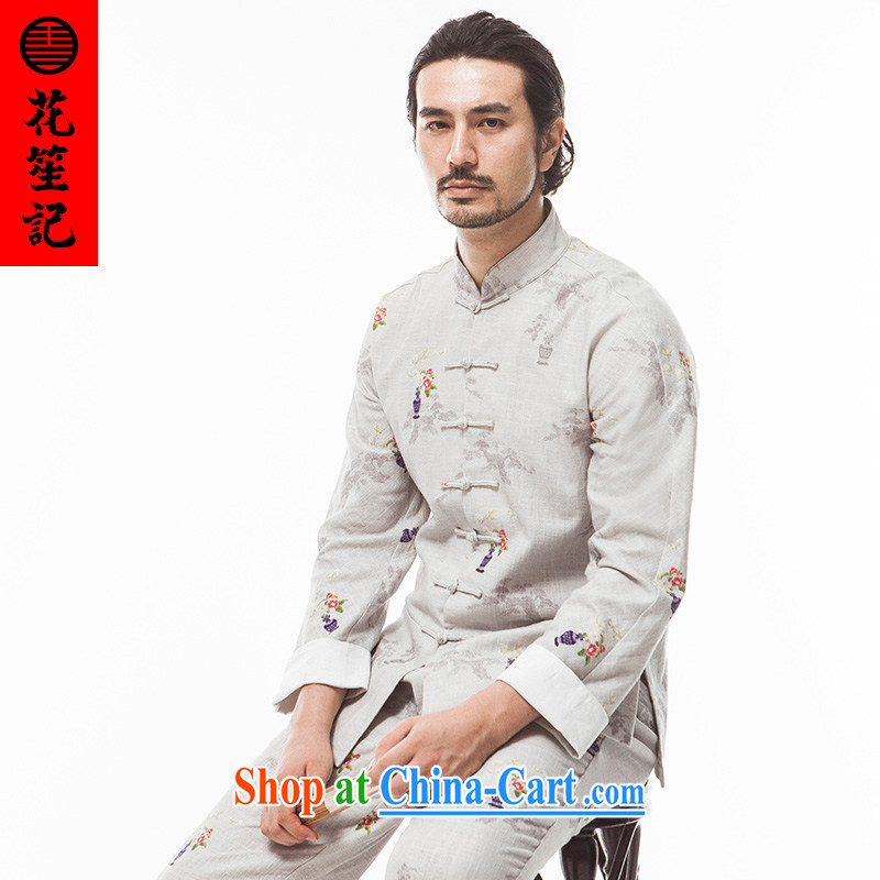 His Excellency took note national antique Chinese wind Fang Fei Sau San Tong replacing men detained the ramie fashion, T-shirt autumn light gray jumbo (XL)