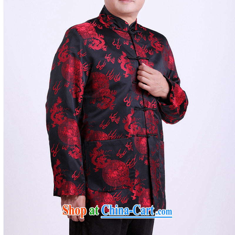 autumn and winter, the elderly people in the Tang's father is old life clothing spring loaded Tang long-sleeved jacket 13,133 black 190_spring,