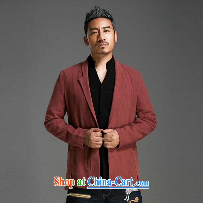 Internationally renowned Chinese clothing original Chinese wind men wore cotton cultivating the Chinese men's leisure Solid Color suits spring and fall jacket men and 57 wine red 2 XL