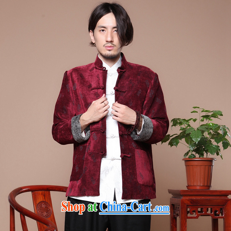 Bin Laden smoke-free middle-aged and older men's antique Chinese long-sleeved Tang is improved, for the charge-back letters so gross jacket winter coat mauve 3 XL