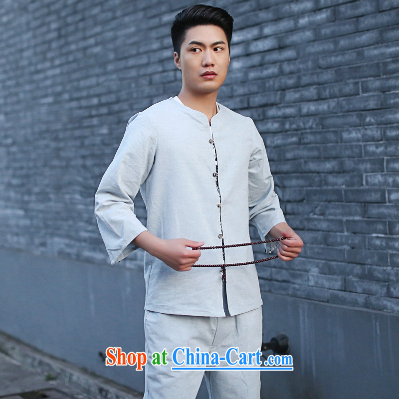Take the new male Chinese Kit Chinese small, cotton for the retro Ethnic Wind 7 cuff kung fu shirt light blue 2 XL