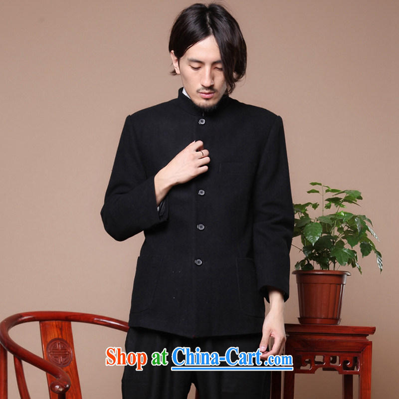 Take the Chinese Antique men's Chinese Korean version suits the older, lead nation gross smock jacket this black XL