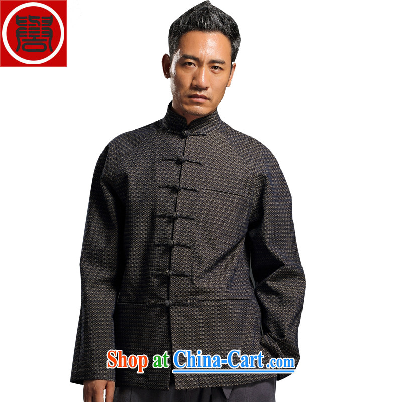 Internationally renowned Chinese wind embroidery autumn and winter Chinese men and Han-men's knitted denim shirt jacket and smock for national dress jacket men's light gray 4 XL