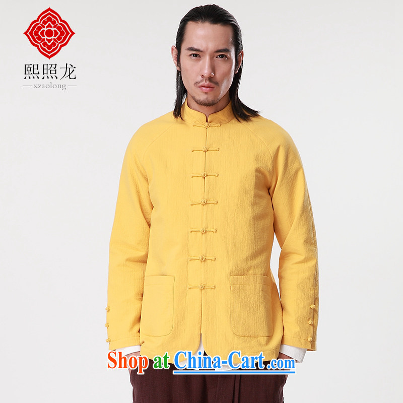 Mr Chau Tak-hay, snapshot 2015 autumn and winter New Tang jackets men, for casual shirt China craze licensing improved Chinese yellow colored XL