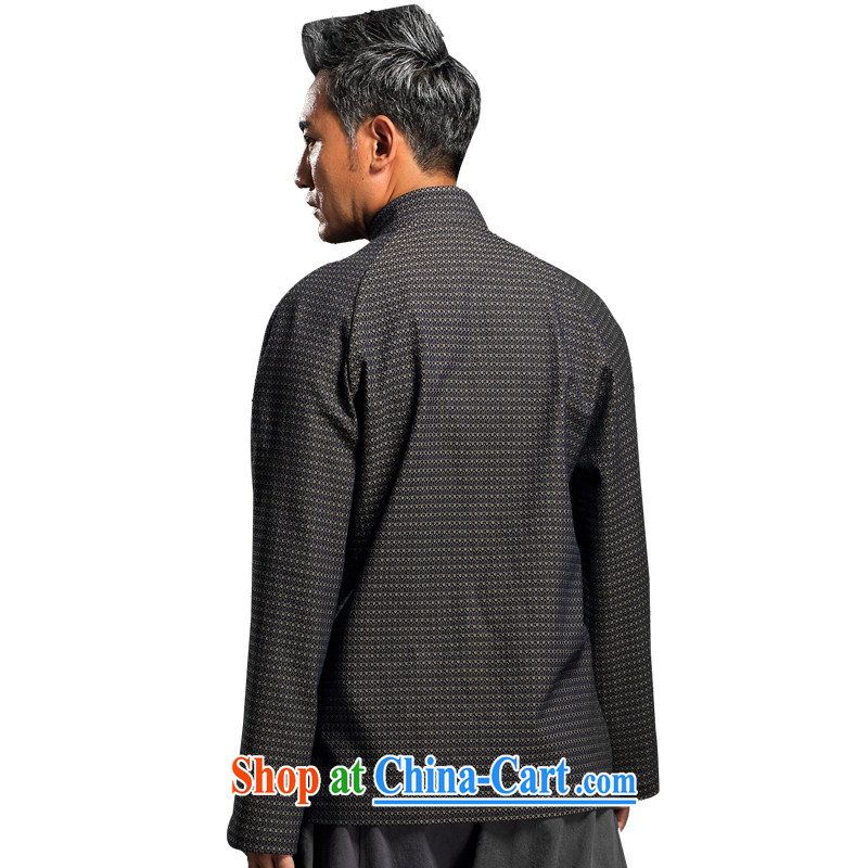 Internationally renowned Chinese wind in the autumn and winter Chinese men and Han-men's knitted denim shirt jacket and smock for national dress jacket and gray 4 L, internationally renowned (CHIYU), online shopping