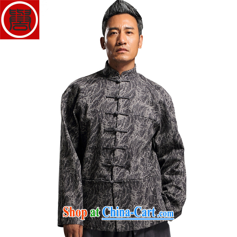 Internationally renowned Chinese wind in the autumn and winter Chinese men and Han-men's knitted denim shirt jacket and smock for national dress jacket and black XL