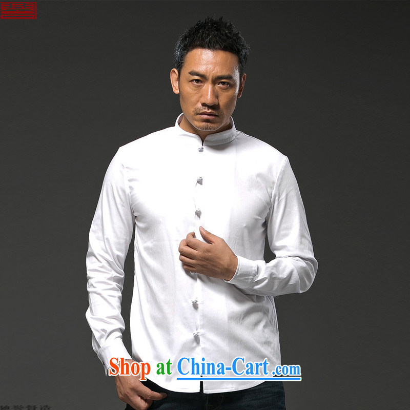 Internationally renowned Chinese clothing Chinese Wind and fall_winter men's long-sleeved T-shirt, cultivating their stupid Chinese T-shirt and the tie cotton the solid color white 3XL