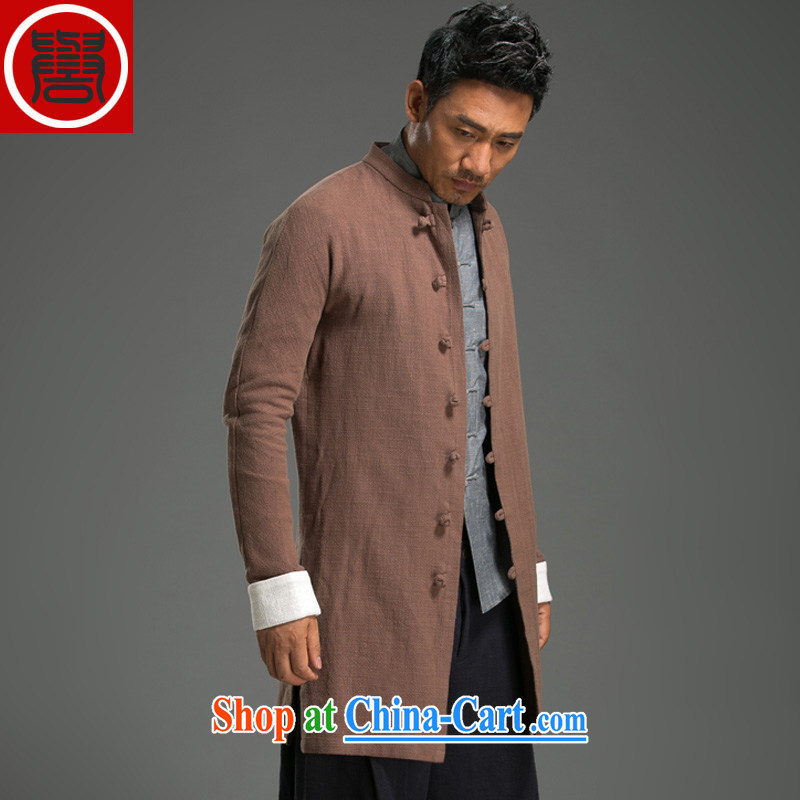 Internationally renowned Chinese clothing Chinese wind autumn and winter wind jacket in the men's long, cultivating a solid color jacket linen long-sleeved men and Chinese cotton the Chinese brown 3 XL