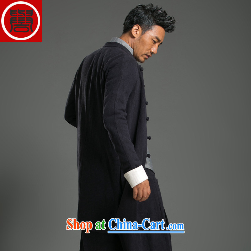 Internationally renowned Chinese clothing Chinese wind autumn and winter wind jacket in the men's long, cultivating a solid color jacket linen long-sleeved men and Chinese cotton the Chinese brown 3 XL, internationally renowned (chiyu), online shopping