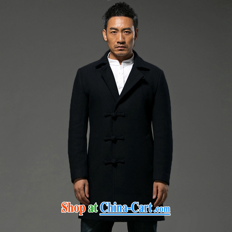 Internationally renowned Chinese clothing Chinese wind winter men's long standing collar windbreaker? The coat jacket Cashmere wool coat is male winter black 2XL