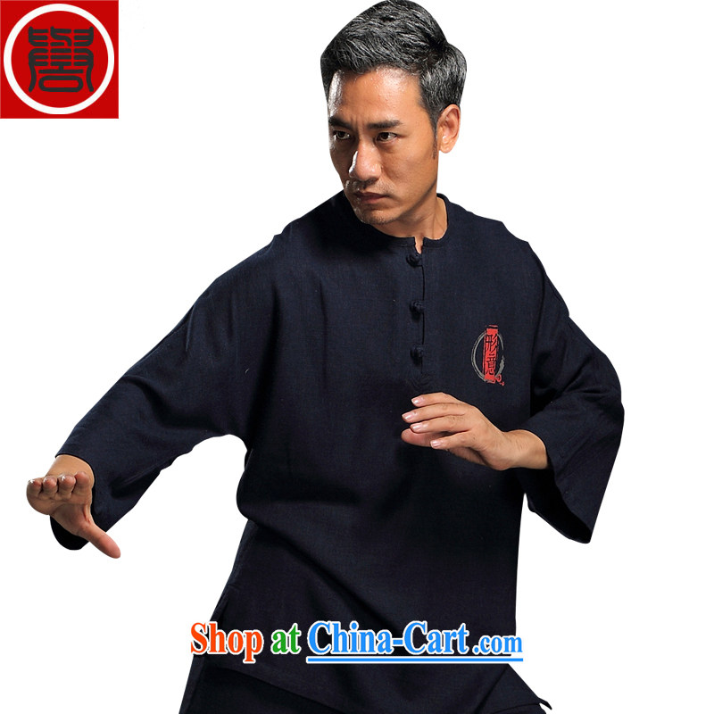 Internationally renowned flax men Chinese Kit kung fu T-shirt hand-tie Chinese ethnic Han-loose Tai Chi uniforms and Kit dark blue XXXL
