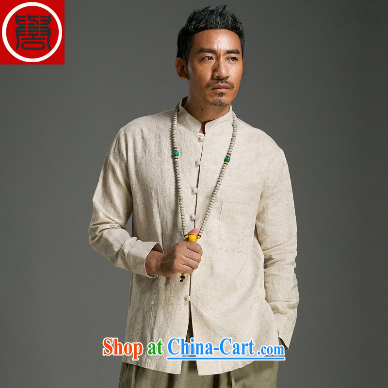 Internationally renowned Chinese clothing men's jacquard Tang with long-sleeved T-shirt and stylish Chinese men and national costumes China wind men's shirts spring 9166 M yellow XXXL
