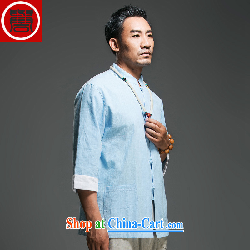 Internationally renowned Chinese clothing Chinese style Chinese male summer 7 cuffs, white collar-tie linen T-shirt men's cotton the Chinese Antique Sky Wave 3 XL