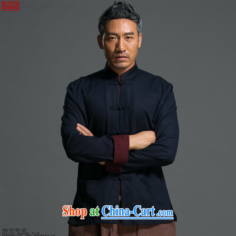 Internationally renowned Chinese clothing Chinese wind men and loose spring long-sleeved Chinese men's Chinese, for national-tie jacket improved Han-blue 9165 3 XL
