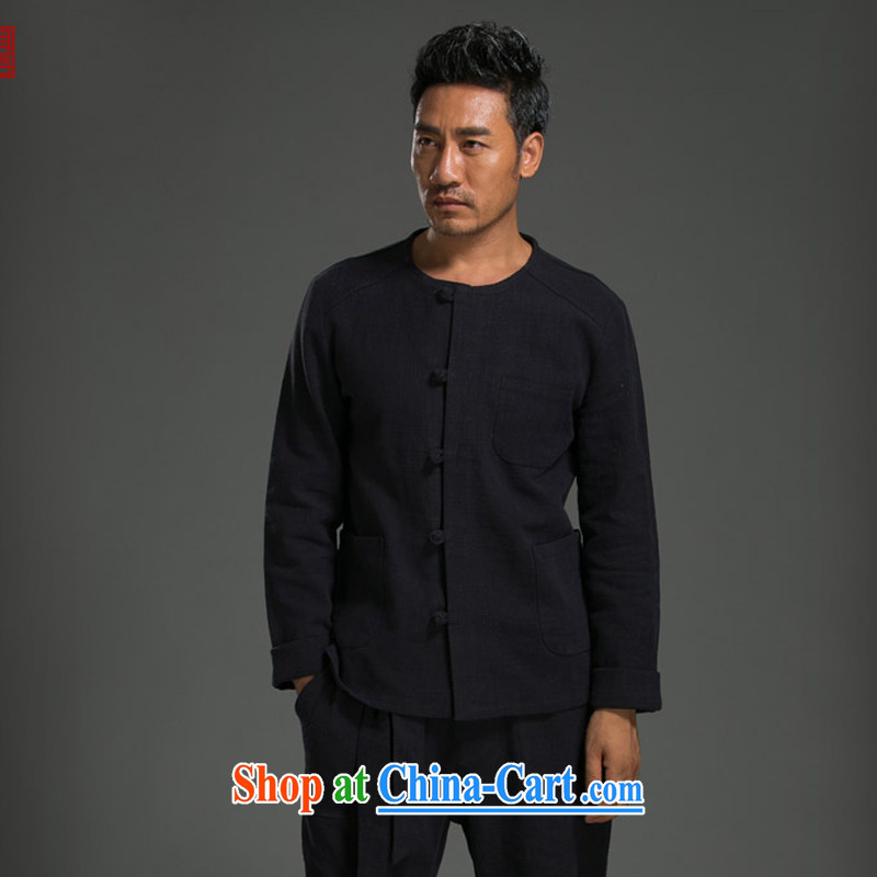 Internationally renowned Chinese clothing Chinese wind fall and winter Chinese men and set long-sleeved Chinese cotton the round-collar-tie cynosure serving the Kung Fu T-shirt solid color maroon 3XL, internationally renowned (chiyu), and, on-line shoppin