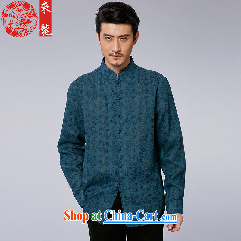 To Kowloon Tong with autumn 2015 New China wind men's ramie casual long-sleeved T-shirt 15,581 blue blue 52